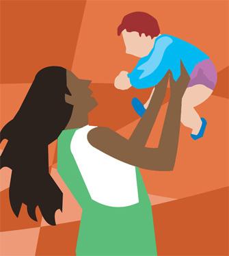 Image of mum holding baby